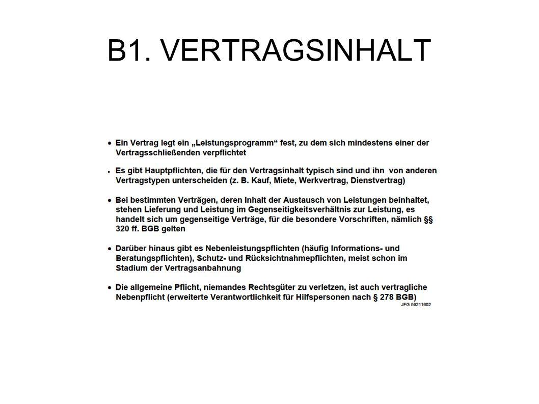 B1. VERTRAGSINHALT