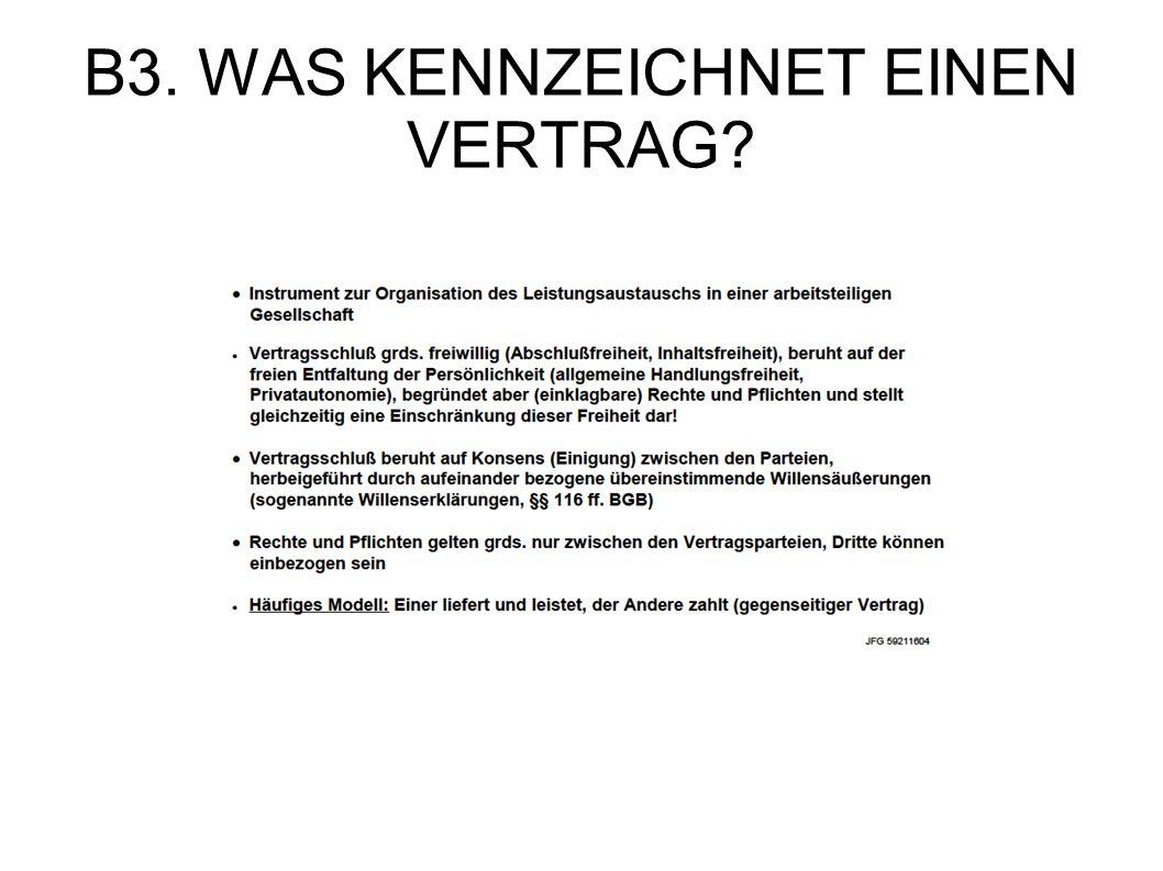 B3. WAS KENNZEICHNET EINEN VERTRAG?