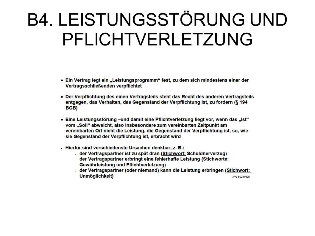 B4. LEISTUNGSSTÖRUNG UND PFLICHTVERLETZUNG