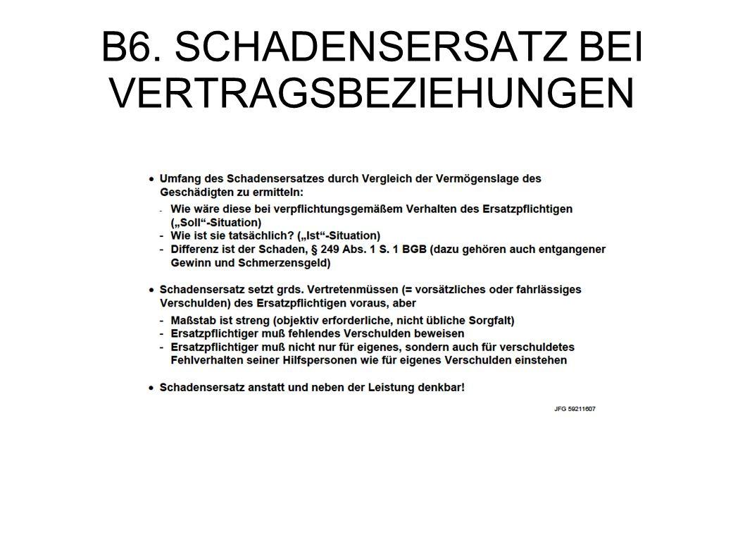 B6. SCHADENSERSATZ BEI VERTRAGSBEZIEHUNGEN