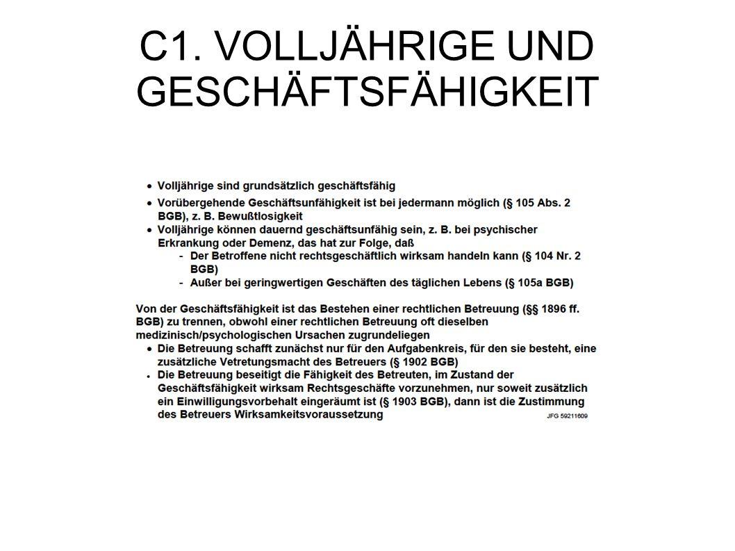 C1. VOLLJÄHRIGE UND GESCHÄFTSFÄHIGKEIT
