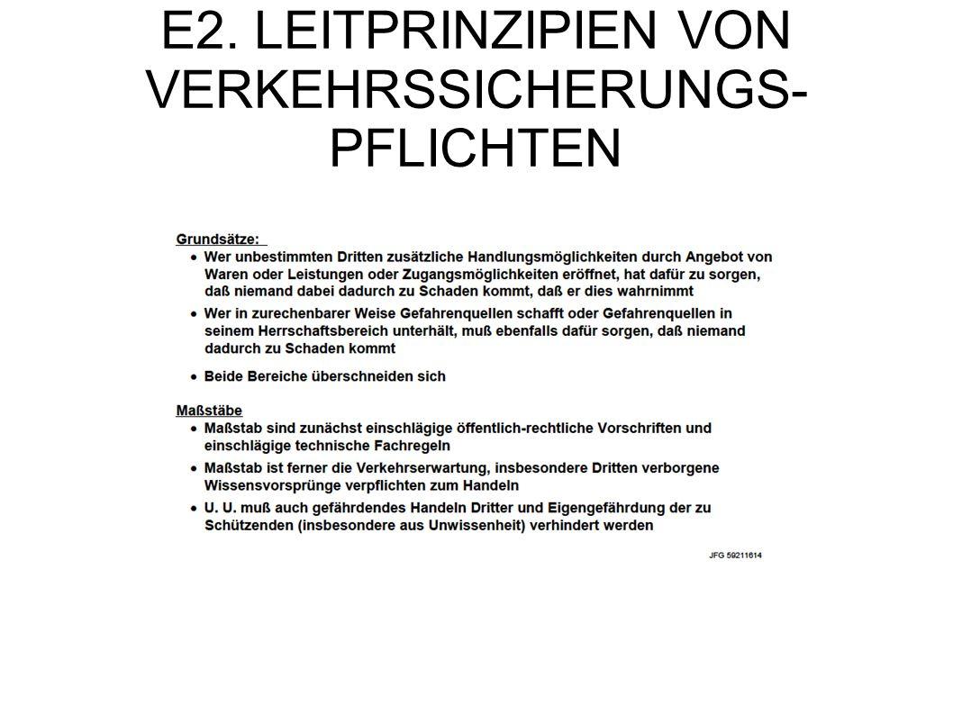 E2. LEITPRINZIPIEN VON VERKEHRSSICHERUNGS- PFLICHTEN