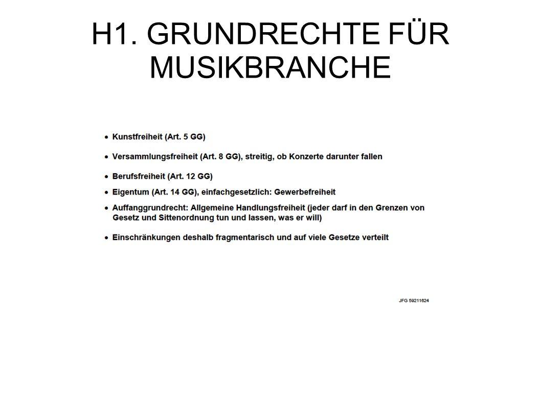 H1. GRUNDRECHTE FÜR MUSIKBRANCHE