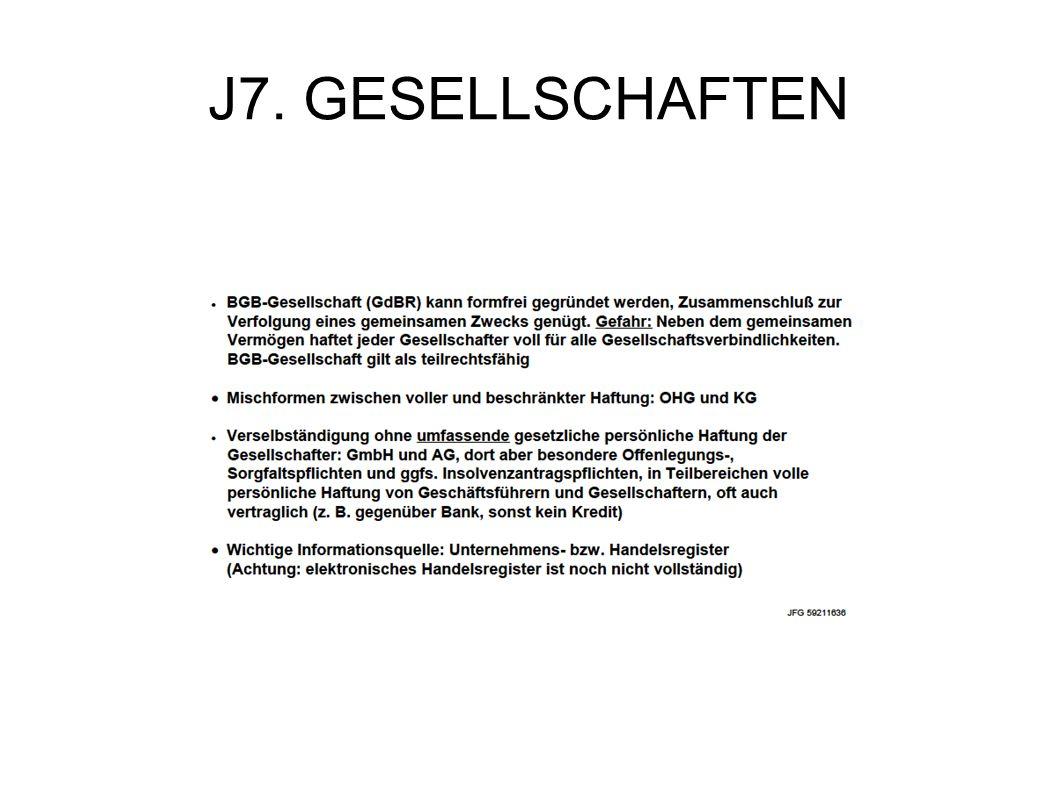 J7. GESELLSCHAFTEN