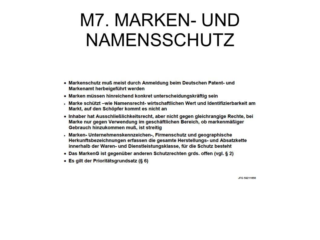 M7. MARKEN- UND NAMENSSCHUTZ