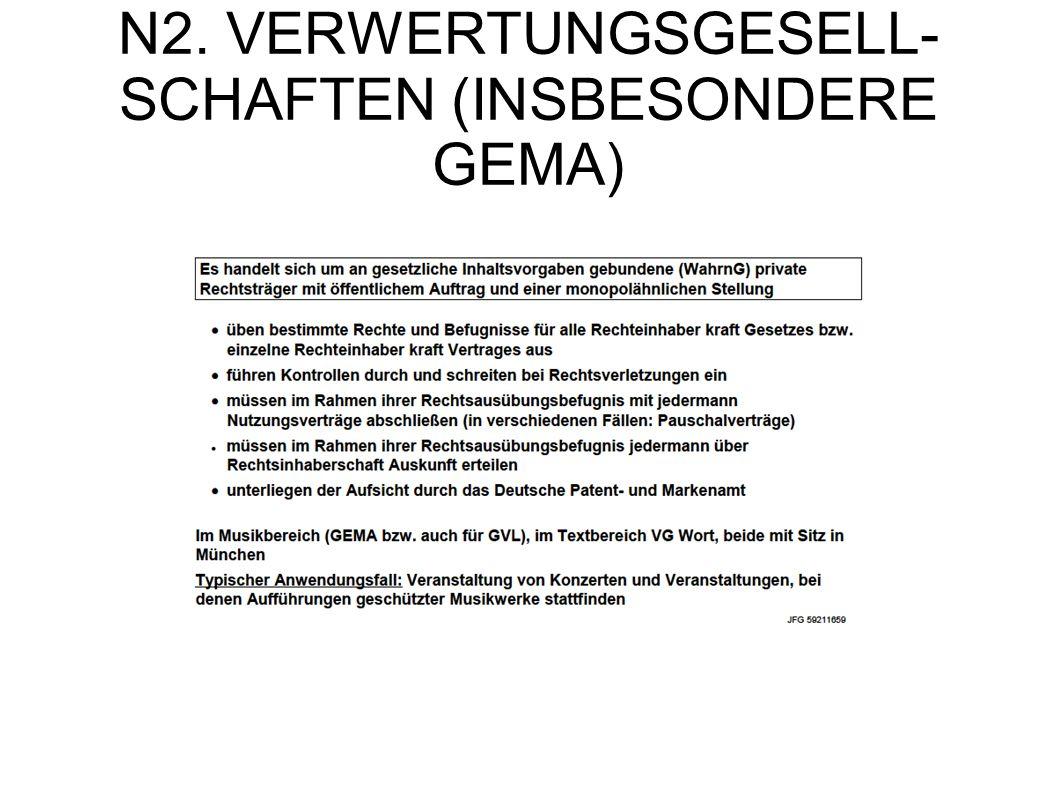 N2. VERWERTUNGSGESELL- SCHAFTEN (INSBESONDERE GEMA)