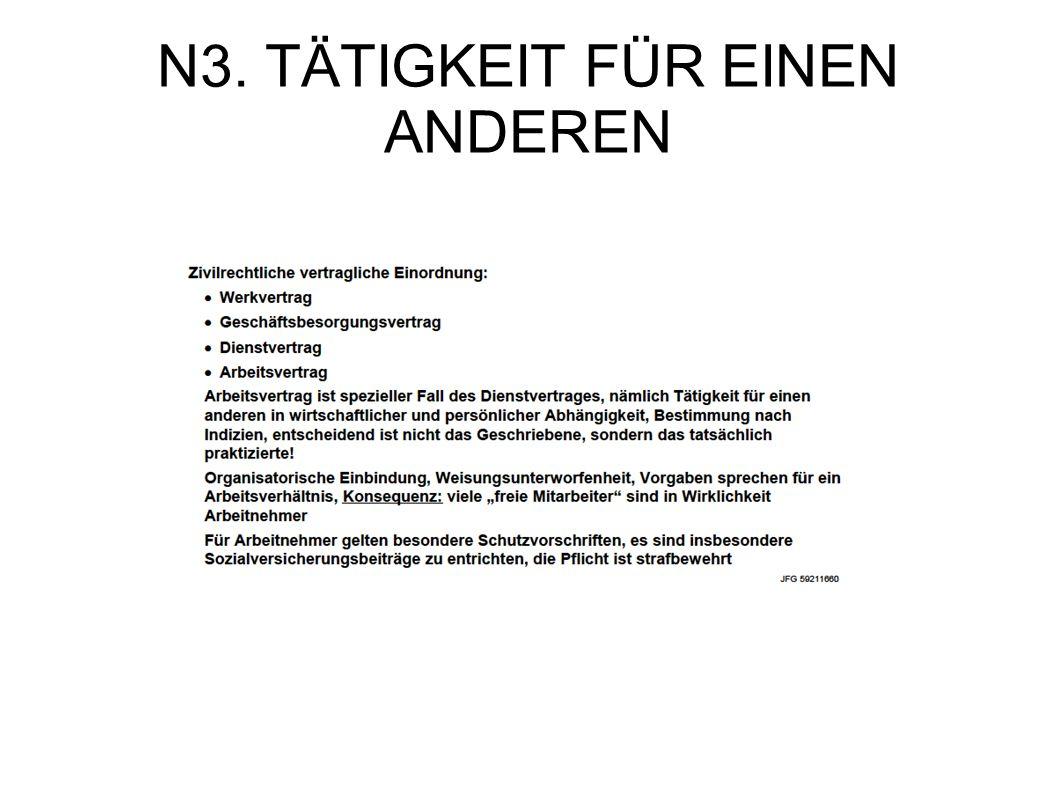 N3. TÄTIGKEIT FÜR EINEN ANDEREN