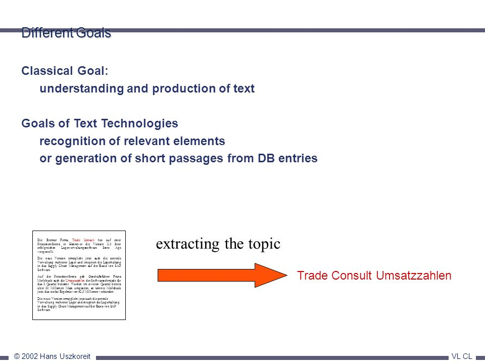 © 2002 Hans Uszkoreit VL CL Classical Goal: understanding and production of text Goals of Text Technologies recognition of relevant elements or genera