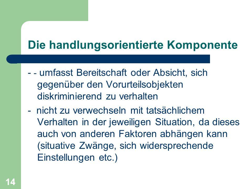 14 Die handlungsorientierte Komponente - - umfasst Bereitschaft oder Absicht, sich gegenüber den Vorurteilsobjekten diskriminierend zu verhalten - nic