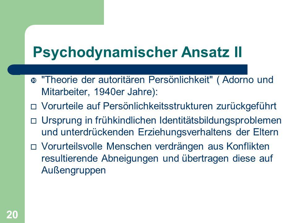 20 Psychodynamischer Ansatz II
