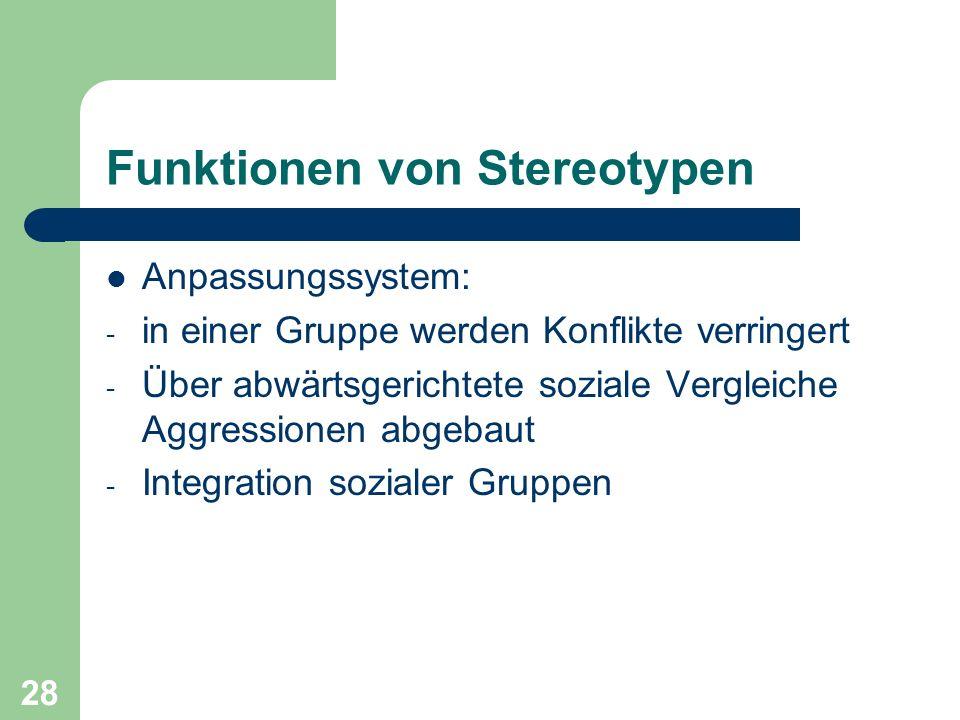 28 Funktionen von Stereotypen Anpassungssystem: - in einer Gruppe werden Konflikte verringert - Über abwärtsgerichtete soziale Vergleiche Aggressionen