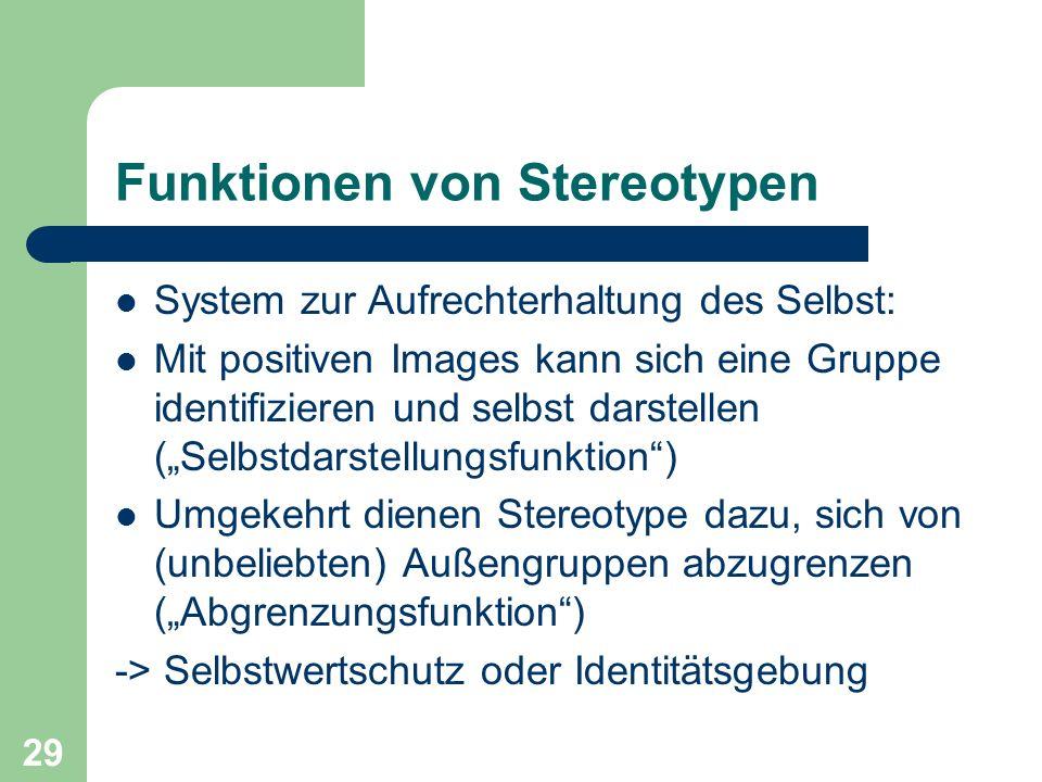 29 Funktionen von Stereotypen System zur Aufrechterhaltung des Selbst: Mit positiven Images kann sich eine Gruppe identifizieren und selbst darstellen