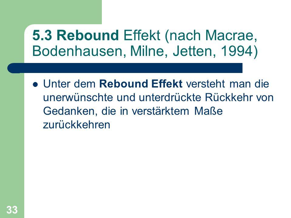 33 5.3 Rebound Effekt (nach Macrae, Bodenhausen, Milne, Jetten, 1994) Unter dem Rebound Effekt versteht man die unerwünschte und unterdrückte Rückkehr