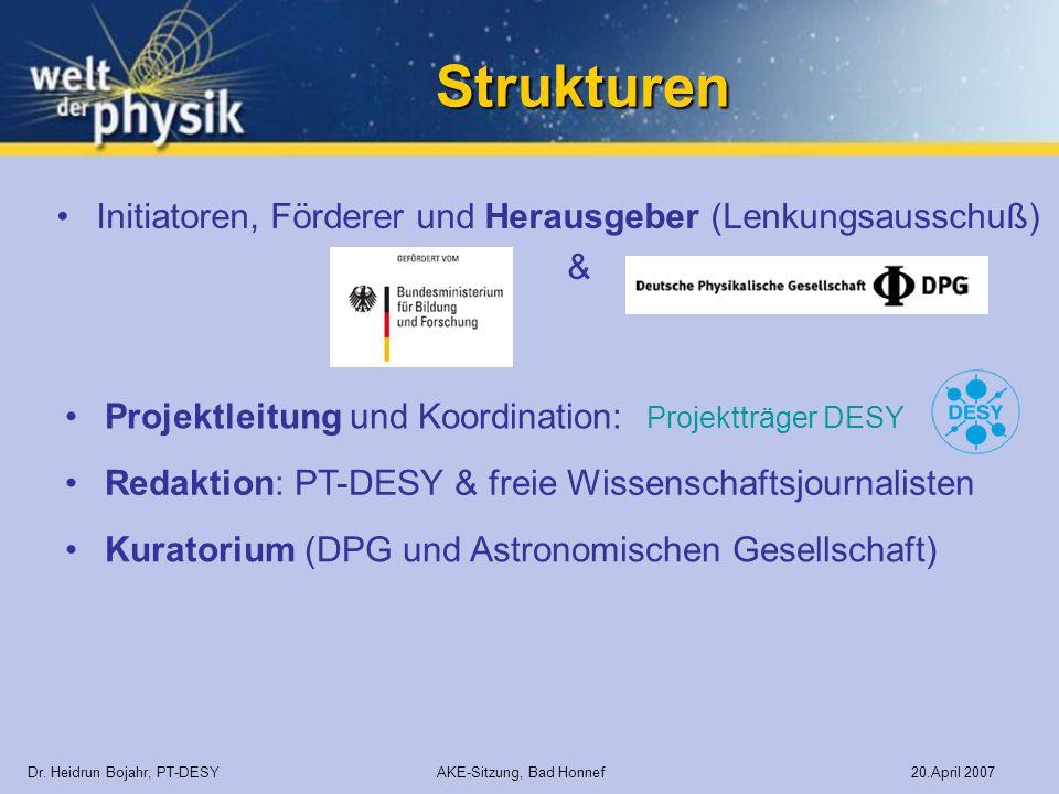 Strukturen Kuratorium (DPG und Astronomischen Gesellschaft) Dr. Heidrun Bojahr, PT-DESY AKE-Sitzung, Bad Honnef 20.April 2007 Initiatoren, Förderer un