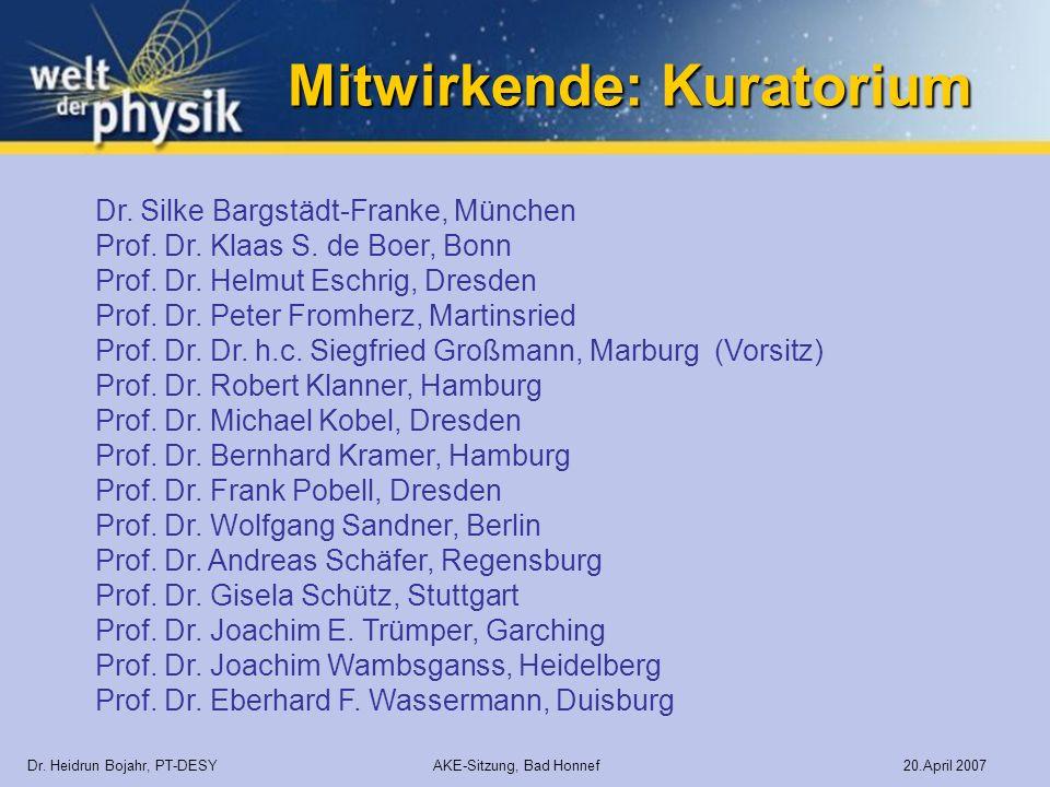 Mitwirkende: Kuratorium Dr. Heidrun Bojahr, PT-DESY AKE-Sitzung, Bad Honnef 20.April 2007 Dr. Silke Bargstädt-Franke, München Prof. Dr. Klaas S. de Bo