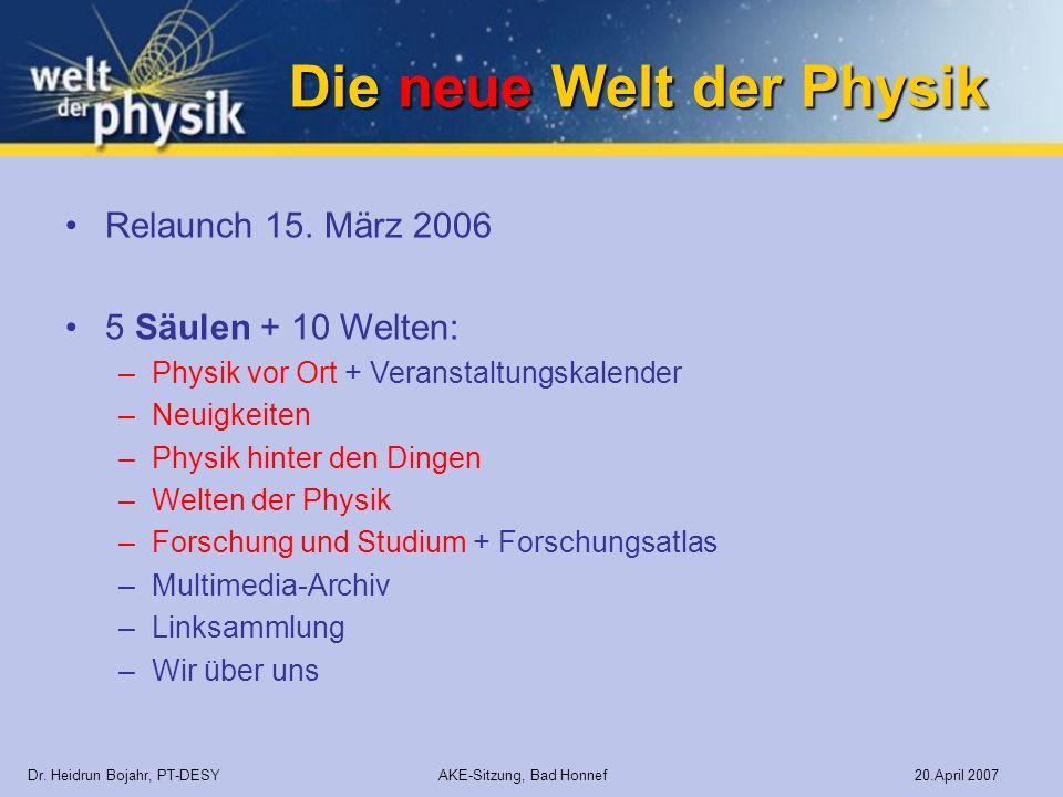 Die neue Welt der Physik Dr. Heidrun Bojahr, PT-DESY AKE-Sitzung, Bad Honnef 20.April 2007 Relaunch 15. März 2006 5 Säulen + 10 Welten: –Physik vor Or