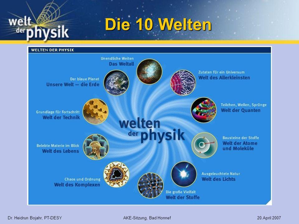 Die 10 Welten Dr. Heidrun Bojahr, PT-DESY AKE-Sitzung, Bad Honnef 20.April 2007