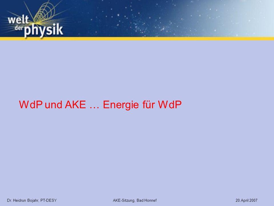 Dr. Heidrun Bojahr, PT-DESY AKE-Sitzung, Bad Honnef 20.April 2007 WdP und AKE … Energie für WdP