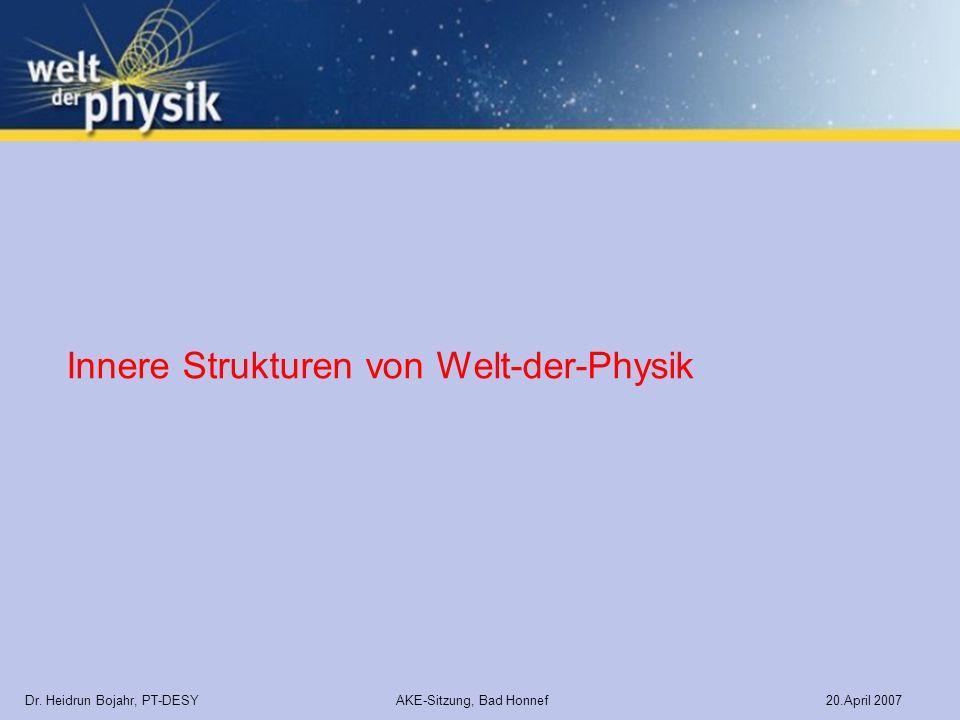 Dr. Heidrun Bojahr, PT-DESY AKE-Sitzung, Bad Honnef 20.April 2007 Innere Strukturen von Welt-der-Physik