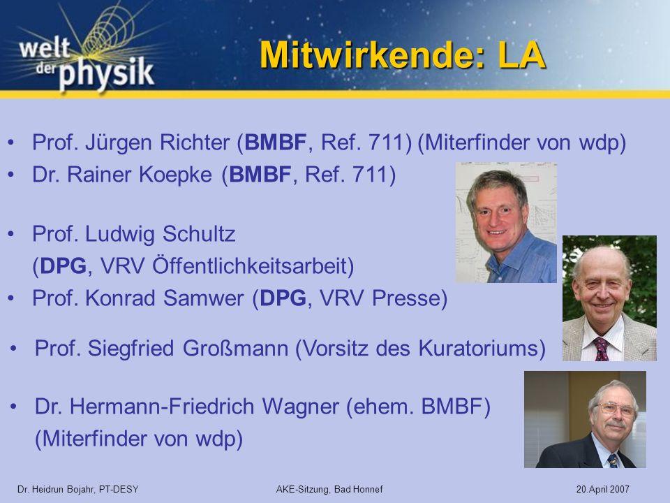 Mitwirkende: LA Dr. Heidrun Bojahr, PT-DESY AKE-Sitzung, Bad Honnef 20.April 2007 Prof. Jürgen Richter (BMBF, Ref. 711) (Miterfinder von wdp) Dr. Rain