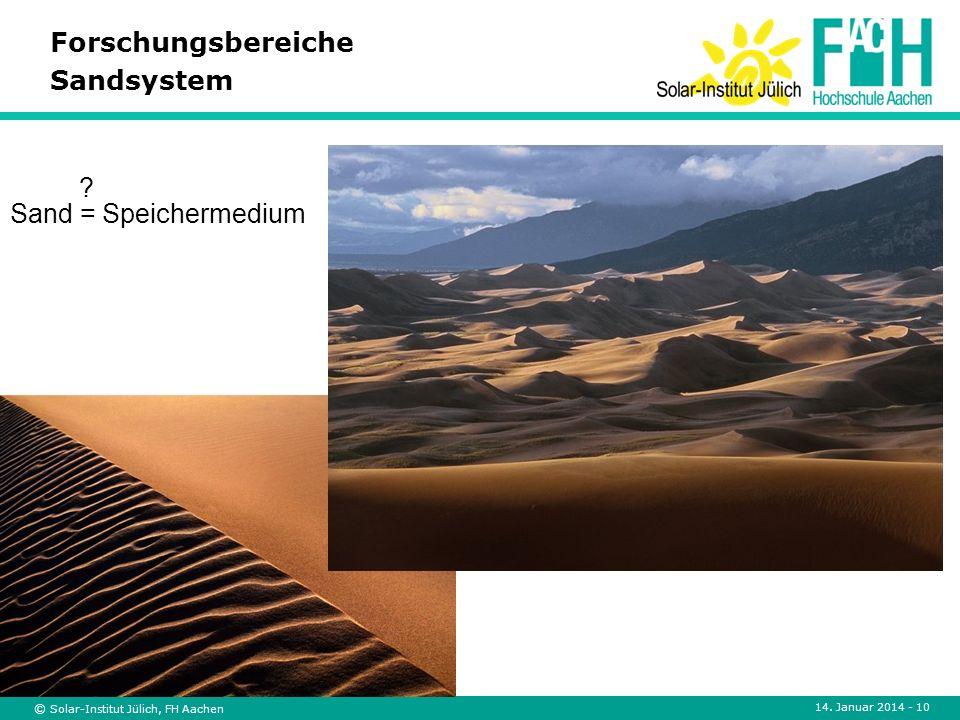 © Solar-Institut Jülich, FH Aachen 14. Januar 2014 - 10 Forschungsbereiche Sandsystem Sand = Speichermedium ?