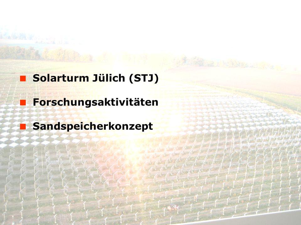 © Solar-Institut Jülich, FH Aachen 14. Januar 2014 - 2 Solarturm Jülich (STJ) Forschungsaktivitäten Sandspeicherkonzept