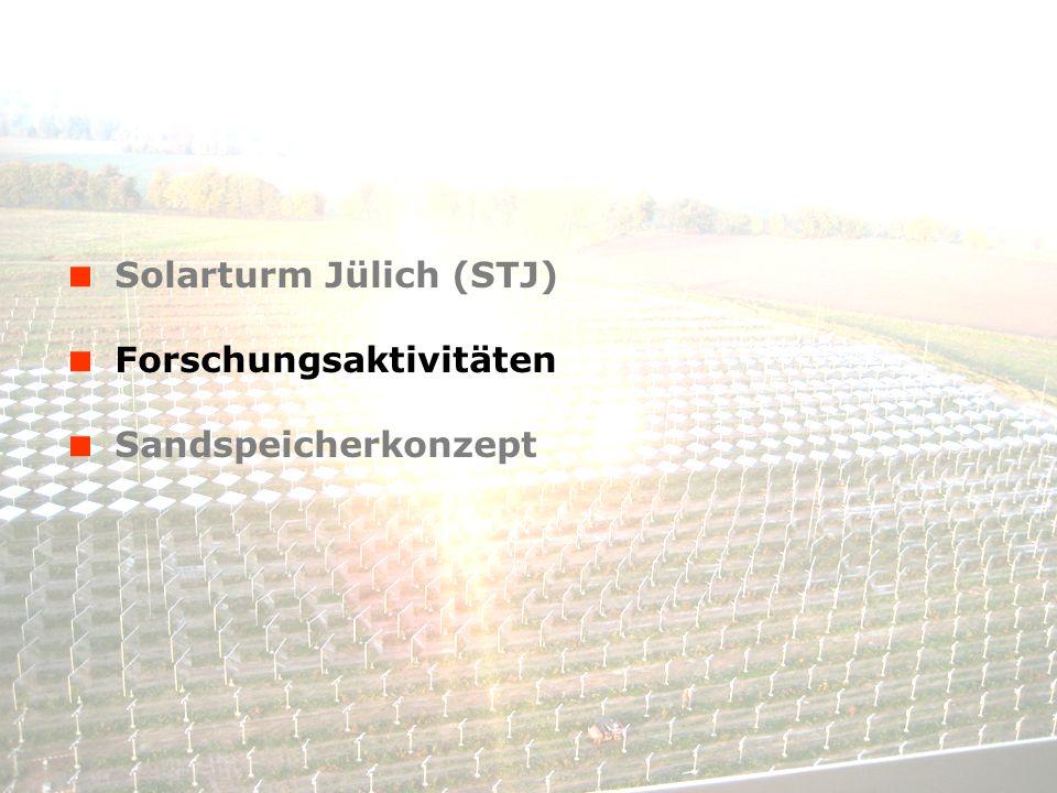 © Solar-Institut Jülich, FH Aachen 14. Januar 2014 - 6 Solarturm Jülich (STJ) Forschungsaktivitäten Sandspeicherkonzept