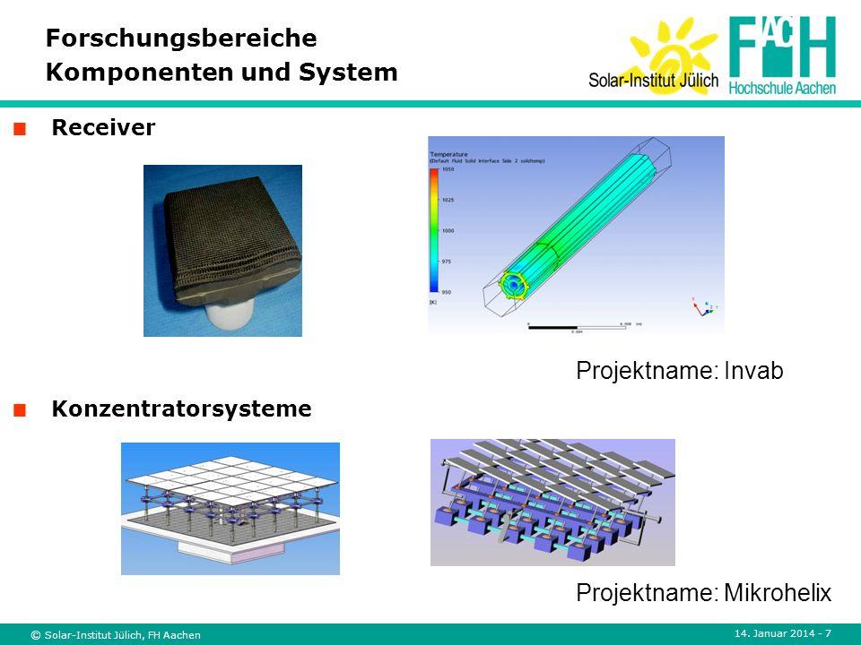 © Solar-Institut Jülich, FH Aachen 14. Januar 2014 - 7 Konzentratorsysteme Forschungsbereiche Komponenten und System Receiver Projektname: Invab Proje