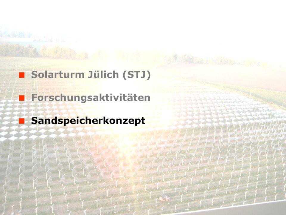 © Solar-Institut Jülich, FH Aachen 14. Januar 2014 - 9 Solarturm Jülich (STJ) Forschungsaktivitäten Sandspeicherkonzept