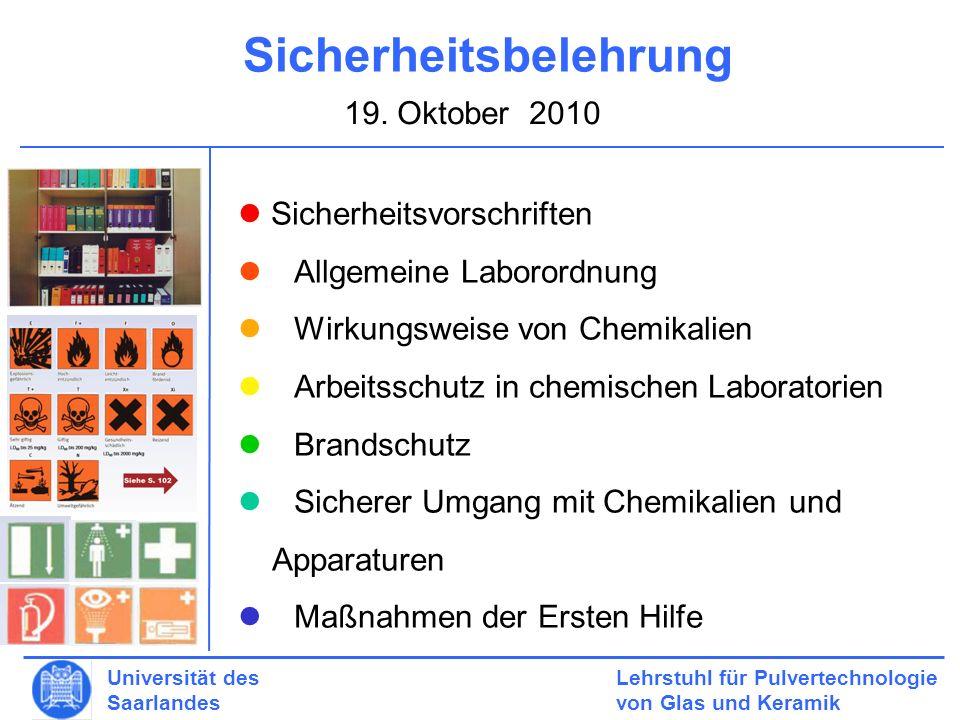 Lehrstuhl für Pulvertechnologie von Glas und Keramik Universität des Saarlandes 2.