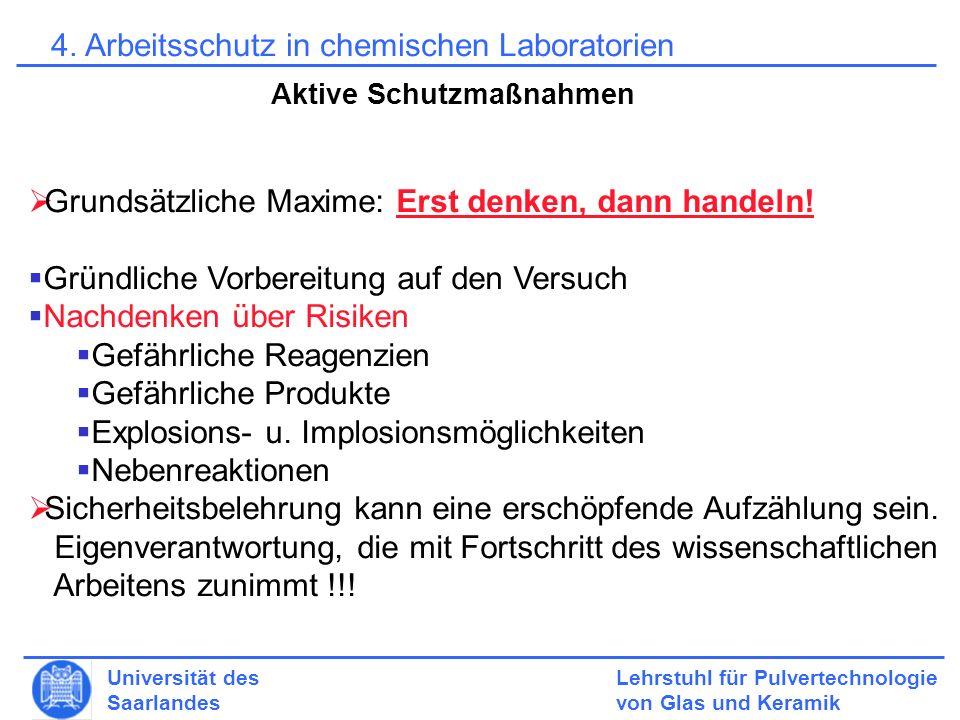 Lehrstuhl für Pulvertechnologie von Glas und Keramik Universität des Saarlandes 4.