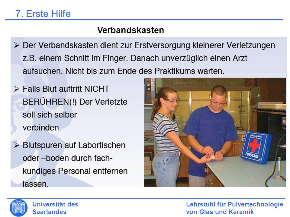 Lehrstuhl für Pulvertechnologie von Glas und Keramik Universität des Saarlandes Verbandskasten 7.