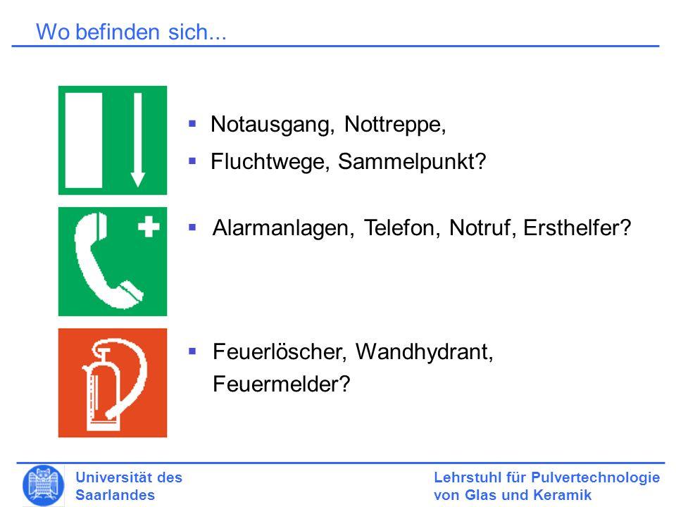 Lehrstuhl für Pulvertechnologie von Glas und Keramik Universität des Saarlandes Wo befinden sich...