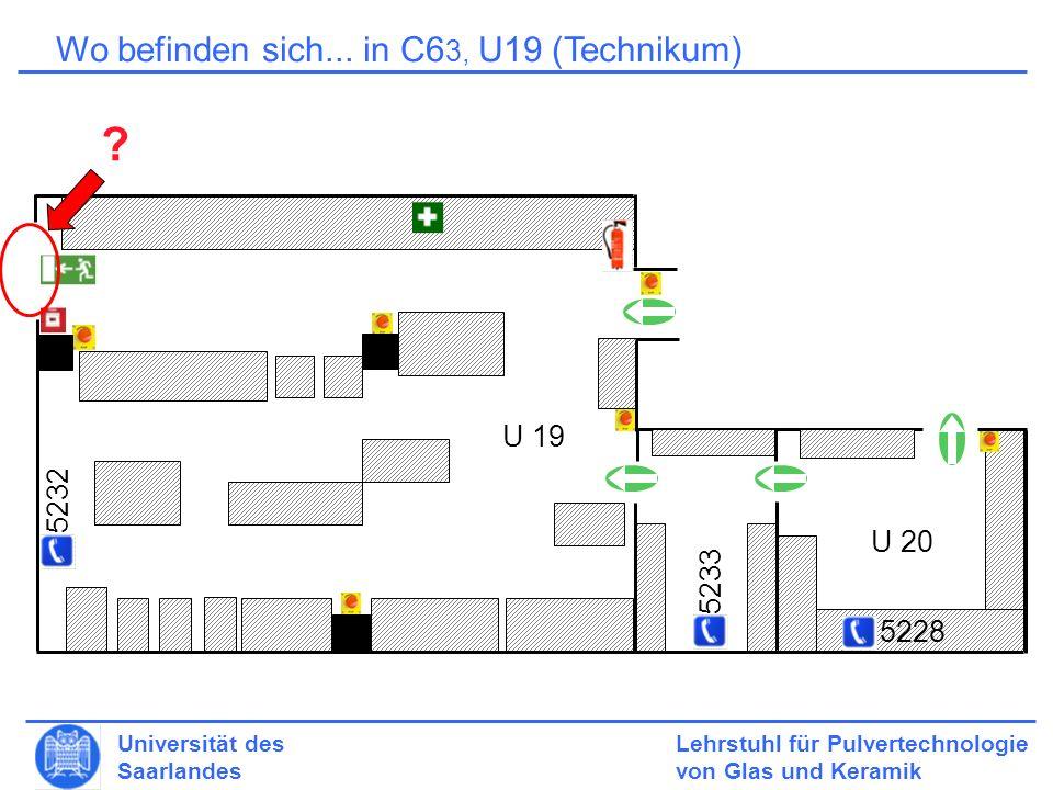 Lehrstuhl für Pulvertechnologie von Glas und Keramik Universität des Saarlandes Lagerung 6.