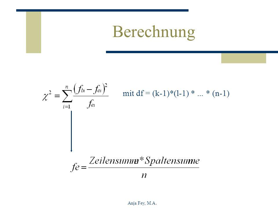 Anja Fey, M.A. mit df = (k-1)*(l-1) *... * (n-1) Berechnung