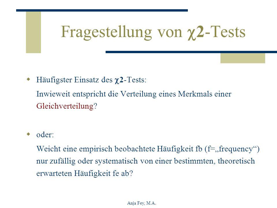 Anja Fey, M.A. Fragestellung von 2-Tests Häufigster Einsatz des 2-Tests: Inwieweit entspricht die Verteilung eines Merkmals einer Gleichverteilung? od