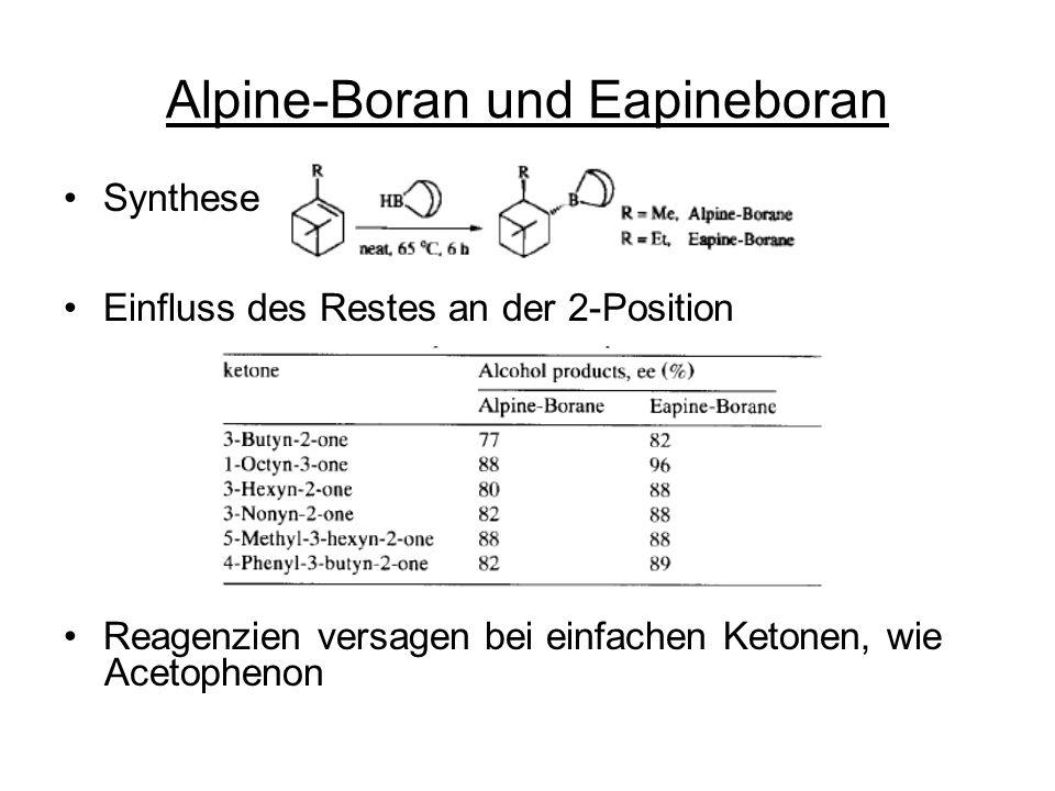 Alpine-Boran und Eapineboran Synthese Einfluss des Restes an der 2-Position Reagenzien versagen bei einfachen Ketonen, wie Acetophenon