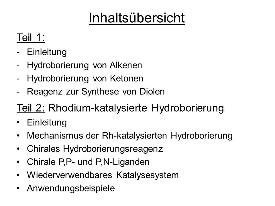 Inhaltsübersicht Teil 1 : -Einleitung -Hydroborierung von Alkenen -Hydroborierung von Ketonen -Reagenz zur Synthese von Diolen Teil 2: Rhodium-katalys