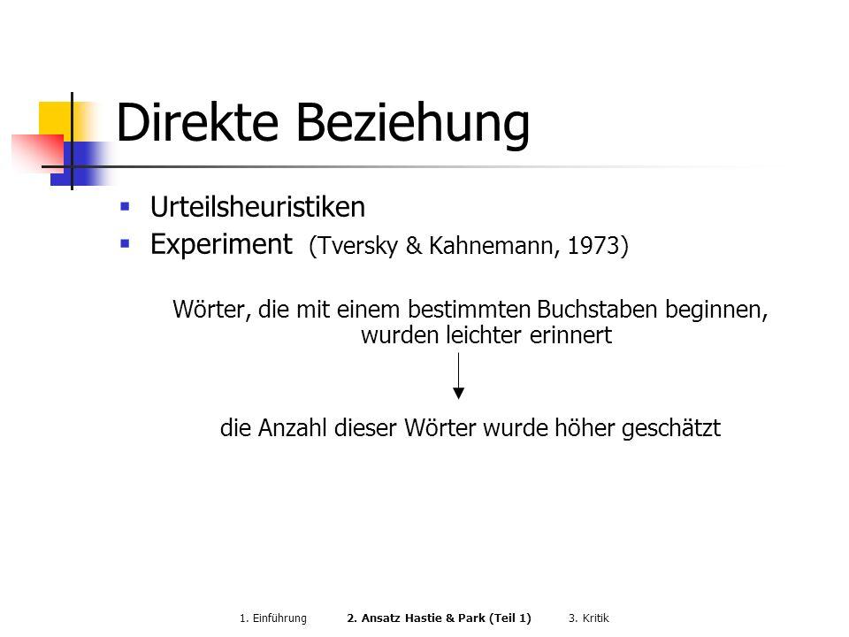 Direkte Beziehung Urteilsheuristiken Experiment (Tversky & Kahnemann, 1973) Wörter, die mit einem bestimmten Buchstaben beginnen, wurden leichter erin