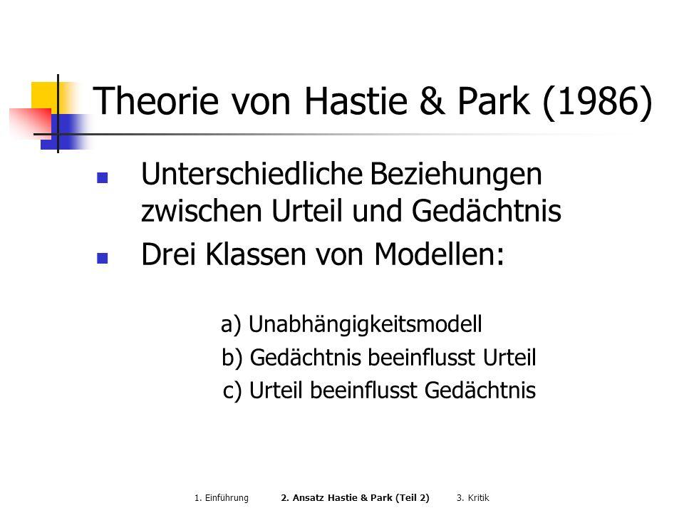 Theorie von Hastie & Park (1986) Unterschiedliche Beziehungen zwischen Urteil und Gedächtnis Drei Klassen von Modellen: a) Unabhängigkeitsmodell b) Ge