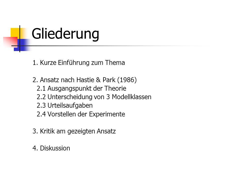 Gliederung 1. Kurze Einführung zum Thema 2. Ansatz nach Hastie & Park (1986) 2.1 Ausgangspunkt der Theorie 2.2 Unterscheidung von 3 Modellklassen 2.3