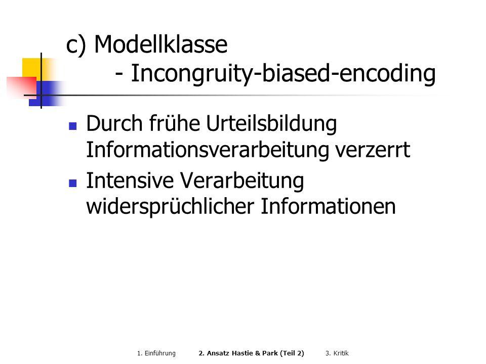 c) Modellklasse - Incongruity-biased-encoding Durch frühe Urteilsbildung Informationsverarbeitung verzerrt Intensive Verarbeitung widersprüchlicher In