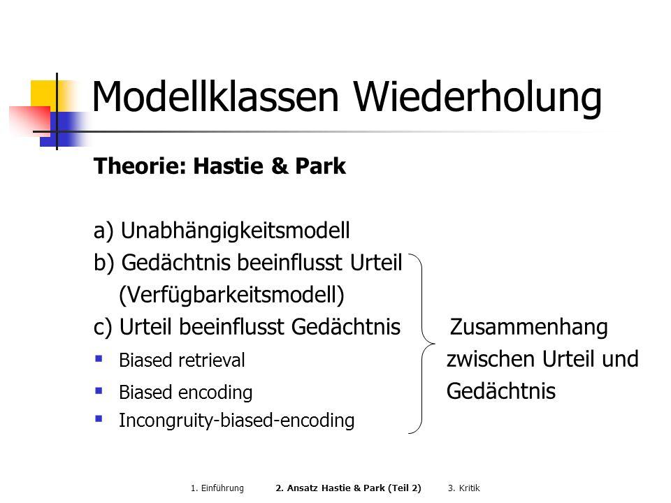 Modellklassen Wiederholung Theorie: Hastie & Park a) Unabhängigkeitsmodell b) Gedächtnis beeinflusst Urteil (Verfügbarkeitsmodell) c) Urteil beeinflus