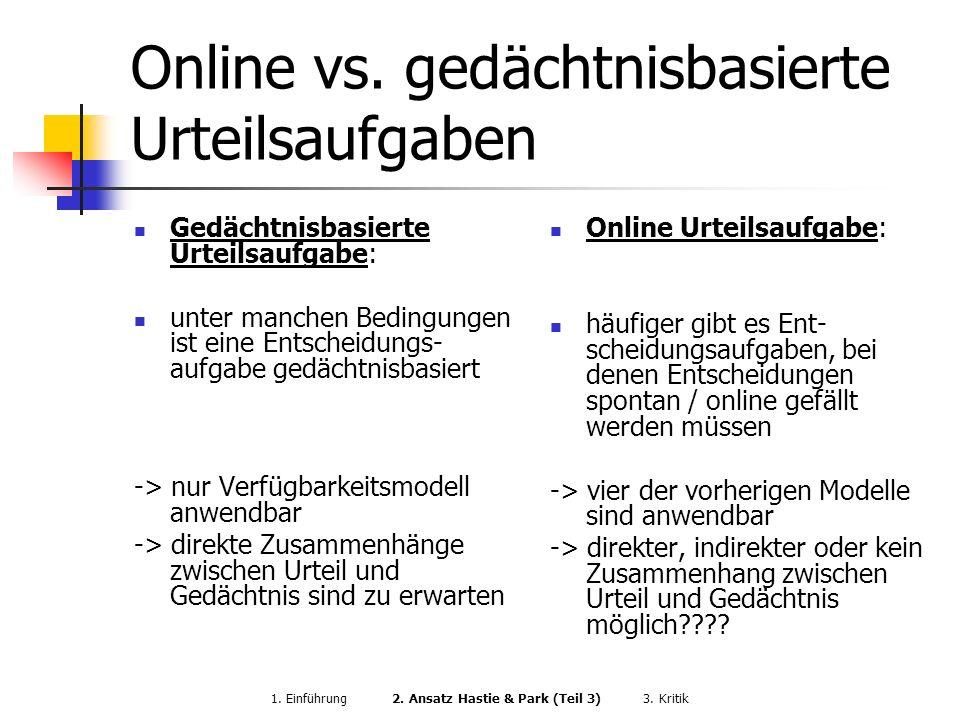 Online vs. gedächtnisbasierte Urteilsaufgaben Gedächtnisbasierte Urteilsaufgabe: unter manchen Bedingungen ist eine Entscheidungs- aufgabe gedächtnisb