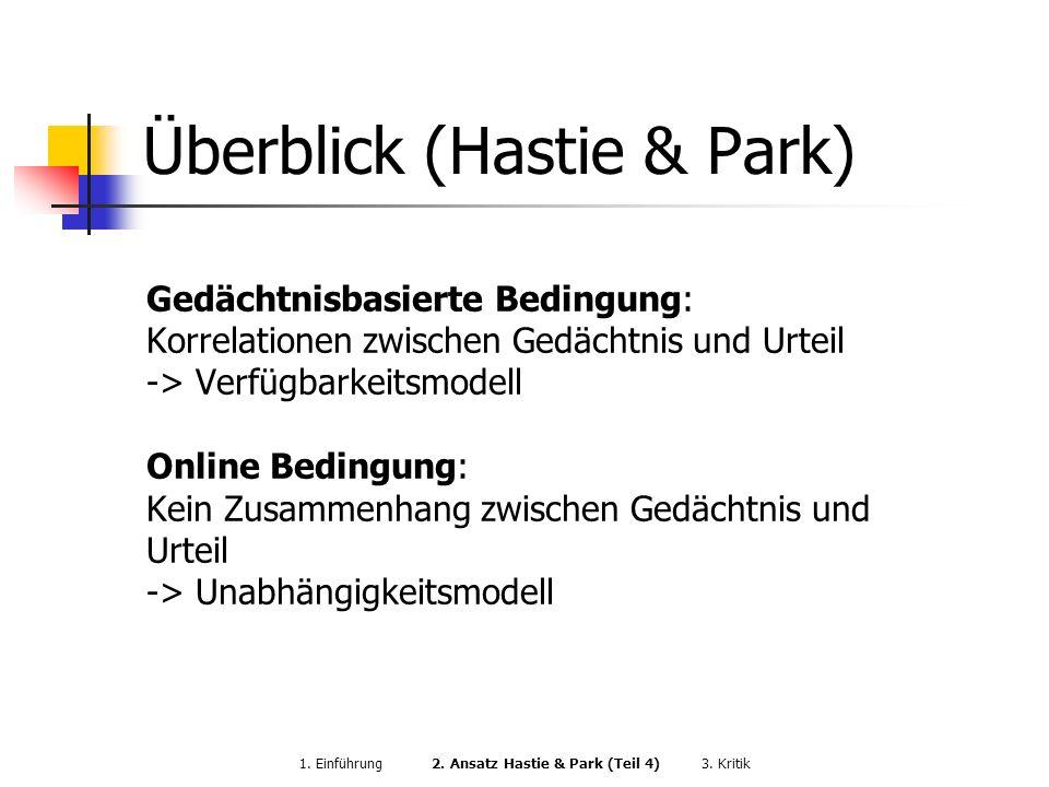Überblick (Hastie & Park) Gedächtnisbasierte Bedingung: Korrelationen zwischen Gedächtnis und Urteil -> Verfügbarkeitsmodell Online Bedingung: Kein Zu
