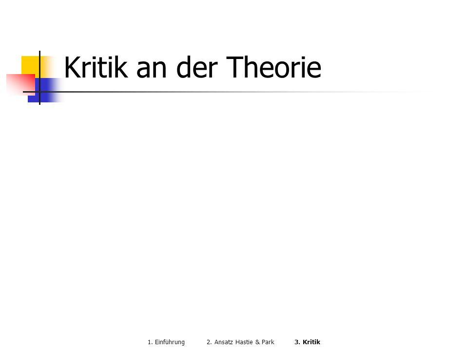 Kritik an der Theorie 1. Einführung 2. Ansatz Hastie & Park 3. Kritik