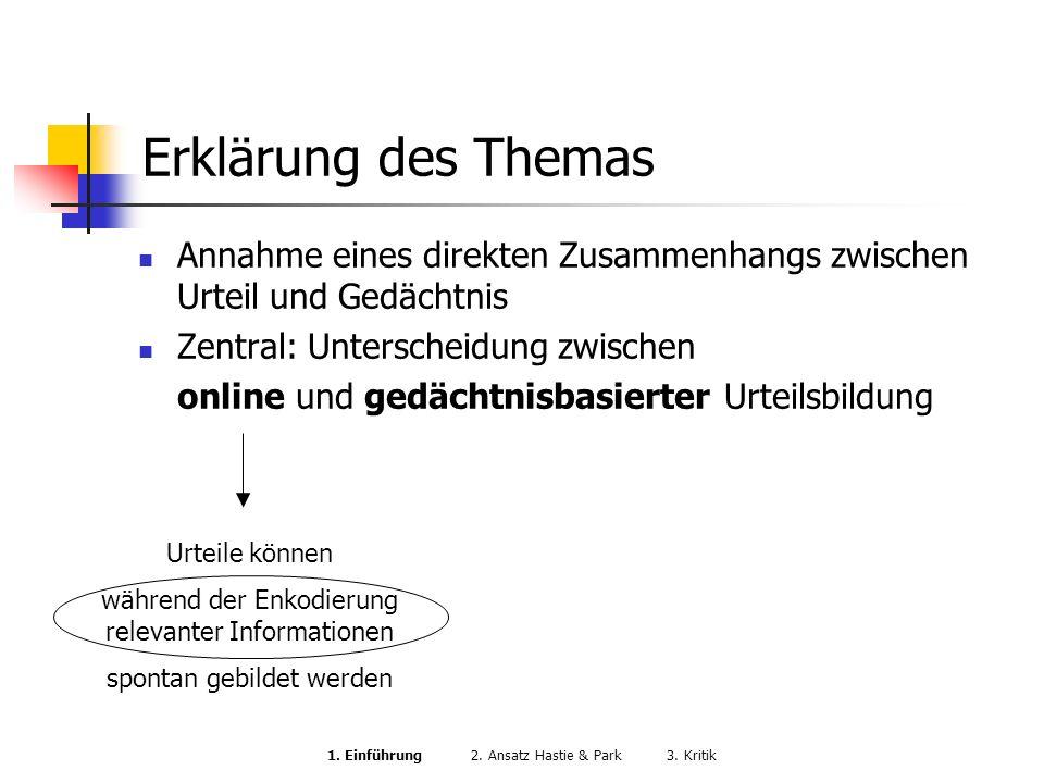 Erklärung des Themas Annahme eines direkten Zusammenhangs zwischen Urteil und Gedächtnis Zentral: Unterscheidung zwischen online und gedächtnisbasiert