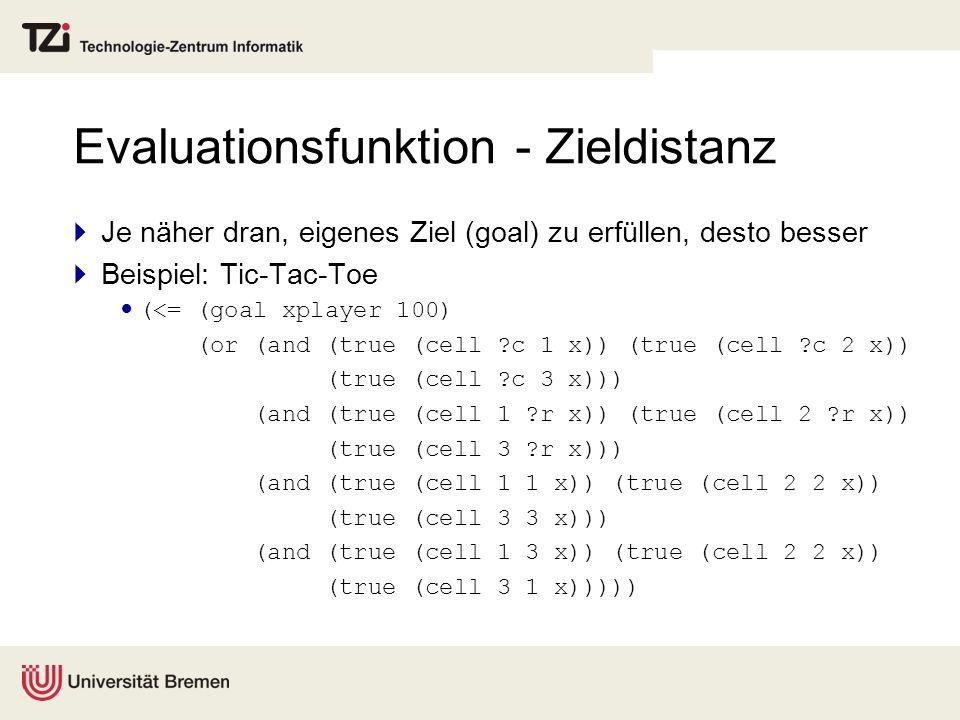 Evaluationsfunktion - Zieldistanz Je näher dran, eigenes Ziel (goal) zu erfüllen, desto besser Beispiel: Tic-Tac-Toe (<= (goal xplayer 100) (or (and (