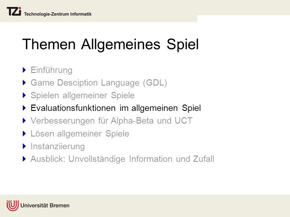 Themen Allgemeines Spiel Einführung Game Desciption Language (GDL) Spielen allgemeiner Spiele Evaluationsfunktionen im allgemeinen Spiel Verbesserunge