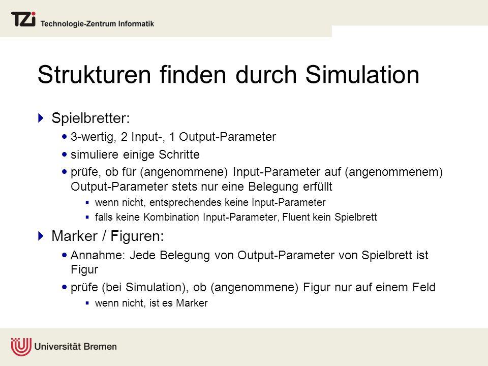 Strukturen finden durch Simulation Spielbretter: 3-wertig, 2 Input-, 1 Output-Parameter simuliere einige Schritte prüfe, ob für (angenommene) Input-Pa